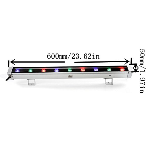 Cooo 9W RGB Linear LED Wall Wash Light Bar Aluminum Alloy DJ Stage Lighting Waterproof IP65 Disco Backlighting for Wedding, Restaurant, Party, Club - 1 Pack