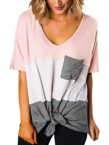 Womens Color Block Trendy Clothes Loose Fitting Sweater Tops Pink White Grey L