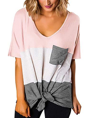 Maternity Size Plus Tees - SAMPEEL Womens Summer Plus Size Clothing Short Sleeve Flowy T Shirts Pink White Grey XXL