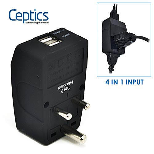 Ceptics GP4-10 2 USB India Travel Adapter 4 in 1 Power Plug (Type D) - Universal Socket