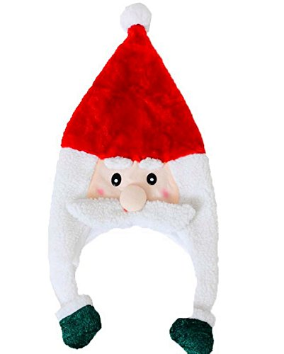 Christmas Cap Kids Cute Cartoon Earflap Plush Santa Hat Holiday Events Party (Santa Claus, 2pcs) (Trim Earflap)