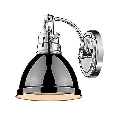 Golden Lighting 3602-BA1 CH-BK Duncan - One Light Bath Vanity, Chrome Finish with Black Glass