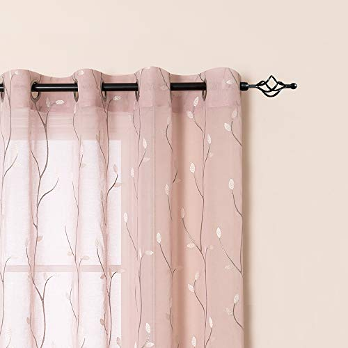 jinchan Sheer Curtains for Bedroom 95 Inch Length Floral Embroidered Sheers for Living Room Embroidery Voile Grommet Window Curtain Panels Set 2 Panels 55