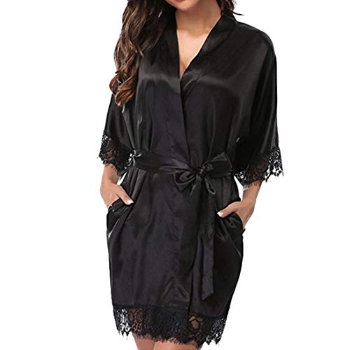 iTLOTL Ladies large size straps sexy lingerie lace stitching gown + (Mornings Nightshirt)