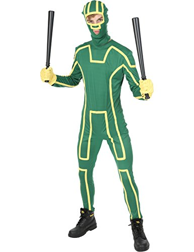 Orion Costumes Mens Kick Ass Superhero Movie Stag Party Jumpsuit Fancy Dress Costume Green (Standard) (Kickass Costumes)