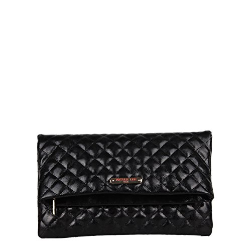 Crossbody Bag Quilted Fold-over Metallic [Black] Clutch Bag with Detachable Shoulder Strap