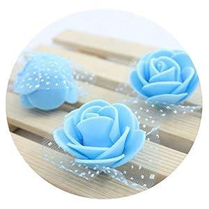 SHEEP YANG 60 pcs/lot 3cm Bubble Rose Flower Heads Flower Wreath Wedding Bouquet Materials Decorate Flower Pectoral,Sky Blue 16