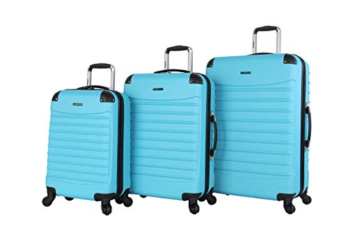 Ciao Luggage Voyager 3 Piece Hardside Spinner Suitcase Set Collection (Voyager Aqua)