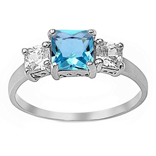 3 Stone Wedding Engagement Ring Princess Cut Square Simulated Blue Aquamarine CZ 925 Sterling Silver