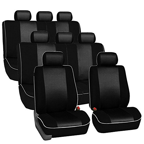FH Group FH-FB063128 Three Row Cloth Car Seat Covers with Piping Airbag & Split Ready Black- Fit Most Car, Truck, SUV, or Van