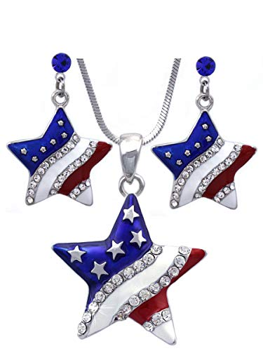 (cocojewelry 4th of July USA American Flag Heart Star Pendant Necklace Earrings Set (Star Royal Blue Dot Dangle))
