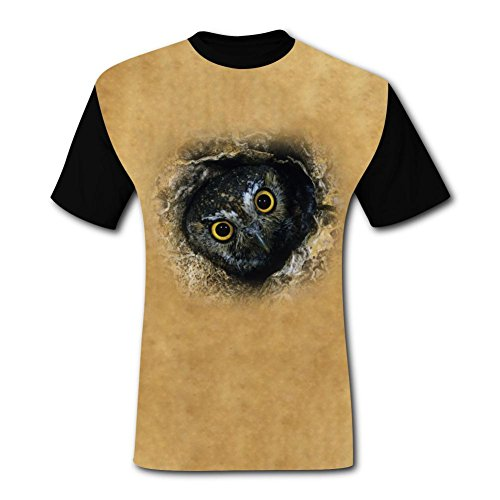 PAPA T Funny Owl in A Tree Hole Mens Tee T-Shirt Short Sleeve Costume (Owl In A Tree Costume)