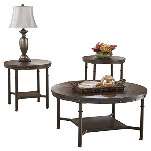 - Ashley Furniture Signature Design - Sandling Occasional Table Set - End Tables and Coffee Table - 3 Piece - Round - Rustic Brown