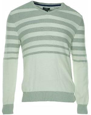 Kenneth Cole Reaction 'Well Blended' Men's Light Gray Striped V-Neck Sweater