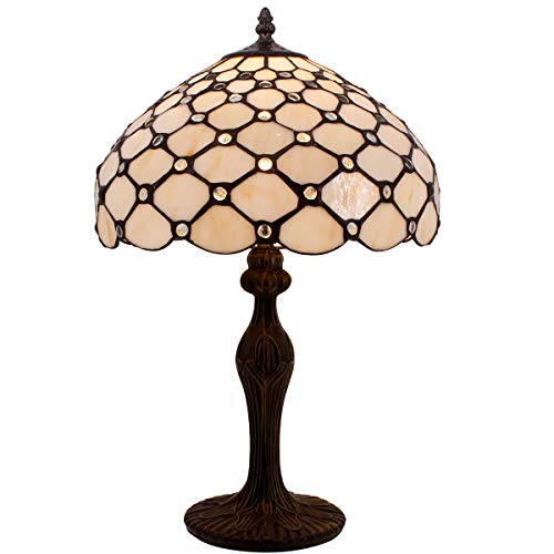 (Tiffany Lamp Cream Stained Glass and Crystal Pearl Bead Style Table Lamps Height 18 Inch for Kids Room Living Room Bedroom Antique Desk Dresser Beside Coffee Table Bookcase S005)