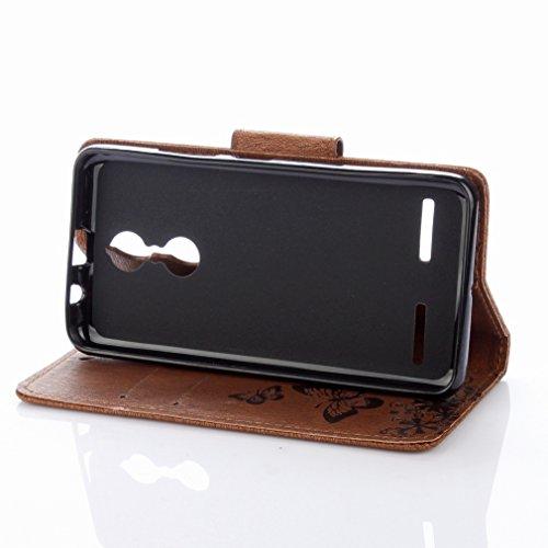 Yiizy Lenovo K6 Custodia Cover, Farfalla Fiore Design Sottile Flip Portafoglio PU Pelle Cuoio Copertura Shell Case Slot Schede Cavalletto Stile Libro Bumper Protettivo Borsa (Marrone)