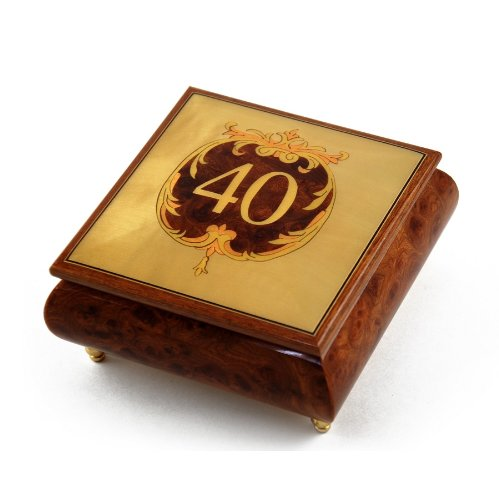 Handcrafted 30 Note 40th Anniversary or Birthday with Ornament Frame Musical Jewelry Box - Love is Blue by MusicBoxAttic (Image #3)
