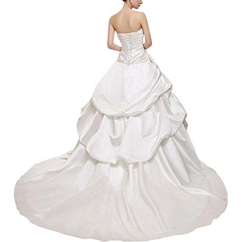 Perlen Aiyana Elegantes Sptize Kapelle Taft Schnüren Ab Damen für Meerjungfrau Weiß Hochzeitskleid Langes Schulter Zug Brautkleider IUwRw1qAW