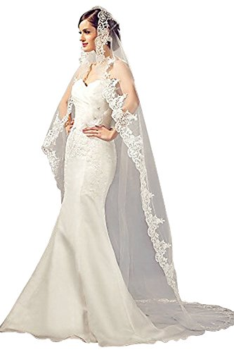 (Doragrace Women's White Ivory Tulle Sheer Wedding Bridal Veils Cathedral for Bride)