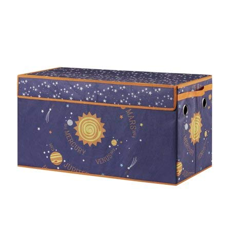 Make Cleanup of Toys Fun and Easy for Kids with Lightweight,Durable and Adorable Mainstays Kids Collapsible Soft Storage Toy Trunk,Outerspace by Generic