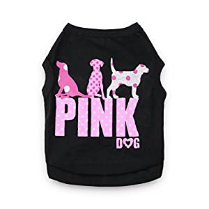 DroolingDog Dog Clothes Pink Dog Shirts Pet T Shirt for Small Dogs, Large, Black
