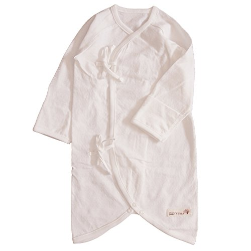 Button Kimono Gown , 0~3 Months, 100% Organic - Sleeping Gowns Newborn
