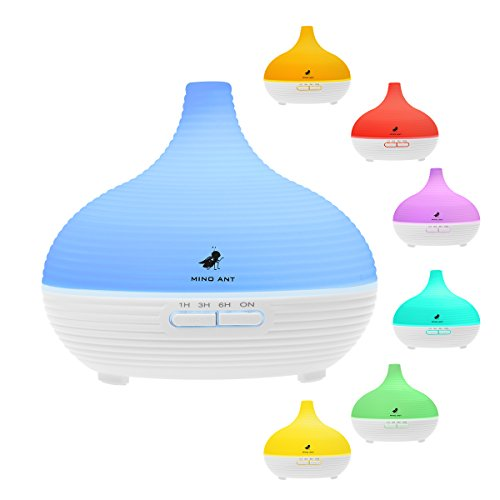 300ML Aromatherapy Essential Oil Diffuser,MINO ANT Cool Mist Ultrasonic Air Humidifier with 7 Color LED Lights Changing and 4 Timer Settings, Waterless Auto Shut-Off for Office Home Spa