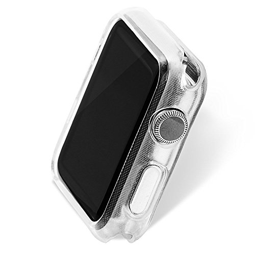 Apple Watch 3 Screen Protector 38mm 42mm, UMTELE Plated TPU Case Integrated Screen Protector Slim Lightweight Protective Bumper Cover for Apple Watch Series 3 2 1 Black Rose Gold Crystal Clear