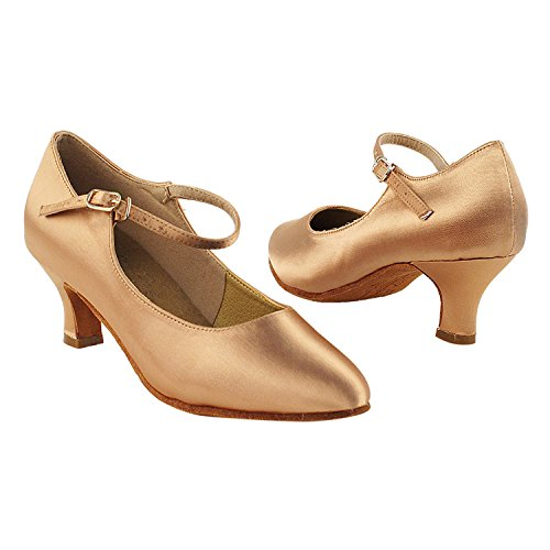 Gold Pigeon Shoes 50 Shades Of Mid Heel Dance Dress Shoes Collection (Vegan Available): Women Ballroom, Latin, Tango, Salsa, Swing, Practice, Theather Art by Party Party S9137 Tan Satin (Vegan)