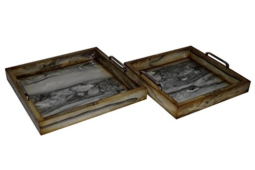 Cheung's 4560-2 Faux Marble Square Trays with Side Chrome Handles| Set of 2| Dark Black Marble Tray