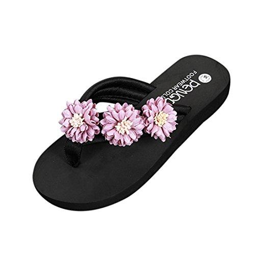 Omiky® Mode Frauen Blume Anti-Skidding Flache Ferse Sandalen Slipper Strandschuhe Lila