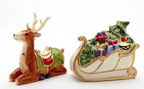 Ceramic Reindeer Sled Sleigh with Christmas Tree and Gifts Salt and Pepper Shakers Set 4