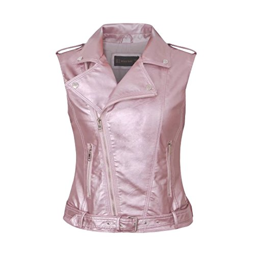 (Daxvens Womens Motorcycle Biker Faux Leather Vest Slant Zip with Pockets Pink)