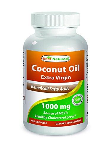 Best Naturals Extra Virgin Coconut Oil 1000 mg Softgel, 180 (Best Naturals Coconut Oils)