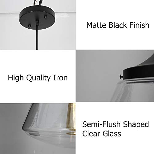 Industrial Semi-Flush Mount Ceiling Light, 10'' Clear Glass Schoolhouse Farmhouse Pendant Lighting Fixture with Matte Black Finish, UL Listed by LAMPUNDIT (Image #5)