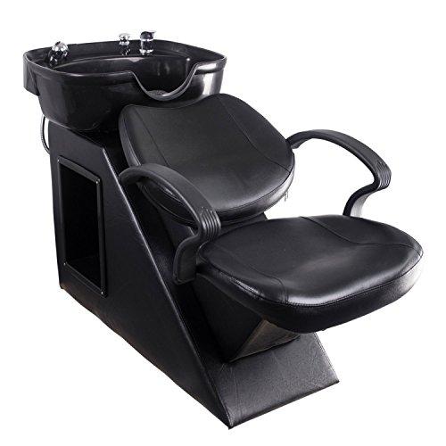 Ainfox Shampoo Barber Backwash Chair, ABS Plastic Bowl Sink for Spa Beauty Salon (black)