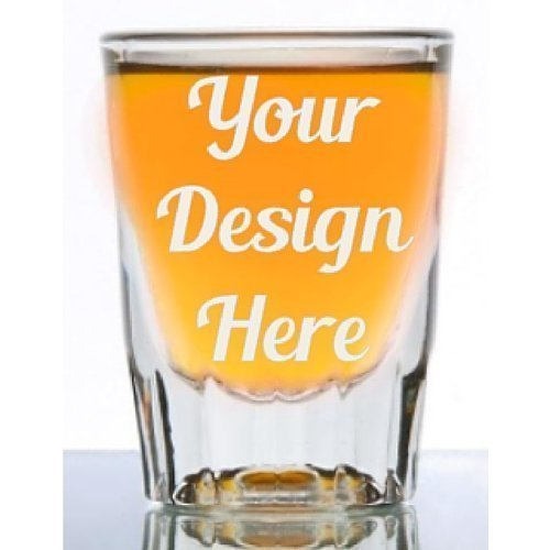 (1.5 oz Custom Fluted Shot Glass - Glass Etched Personalized Shot Glass - Single Sided - Tequila Shot)