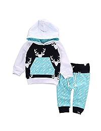 Jarsh Clothes Set Toddler Baby Boy Girls Deer Long Sleeve Hooded Tops+Pants