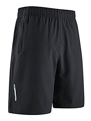 Hengta Men's Workout Training Shorts Quick Dry Active Shorts With Zip Pocket