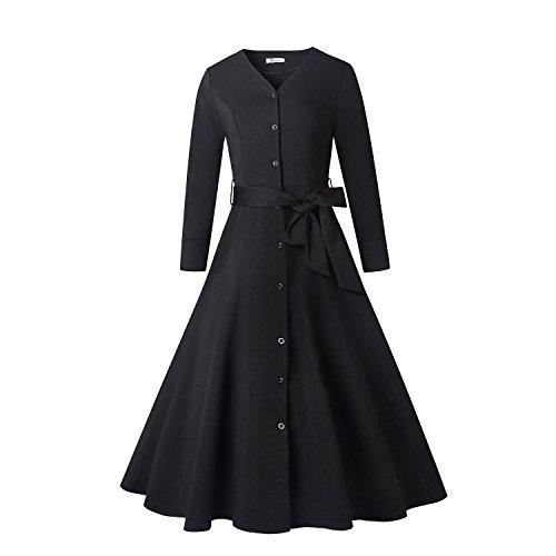 親密なタイピストケージハンエイスアイス ワンピース リボン付き Vネック ロング フレア 七分袖 ドレス フォーマル