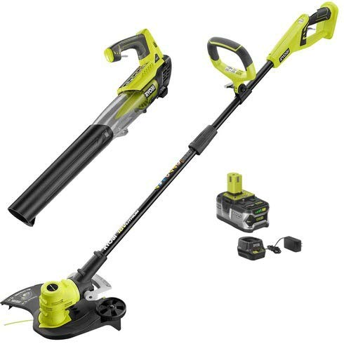 Ryobi ONE+ 18-Volt Lithium-Ion Cordless String Trimmer/Edger and Jet Fan Blower Combo Kit - 4.0 Ah Battery/Charger Included/Tools Included: String Trimmer and Jet Fan Blower ()