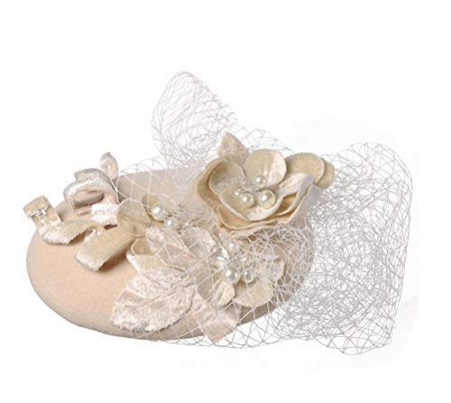 Ahugehome Fascinator Headband Hair Clip Feather Pillbox Hat Mesh Cocktail Party Wedding (S Wool Beige)