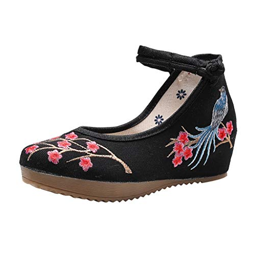 Toimothcn Embroidered Canvas Shoes Women Vintage Ankle Double Strap Ethnic Shoes (Black5,US:5.5)