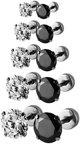 JewelrieShop Assorted Sizes Wholesale Lot Stainless Steel Cubic Zirconia Barbell Cartilage Tragus Helix Stud Earring