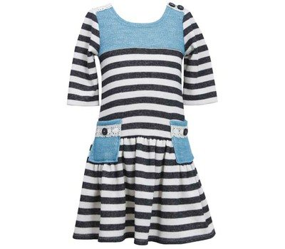 (Bonnie Jean Girls 2T - 6X Solid Contrast Yoke Fall Winter Dress, Black /)