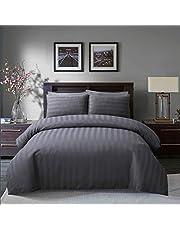 Sleepdown Miękka jakość hotelowa 225 nici liczba poliester satynowy pasek poszewka na kołdrę zestaw z poszewkami na poduszki w kolorze szarym (podwójny)