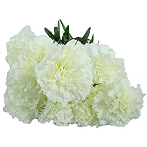 Artificial Flowers, Artificial Carnations White Flowers, (Pack of 2) Wedding Party Vase Decor Bridal Shower Favor Centerpieces 7