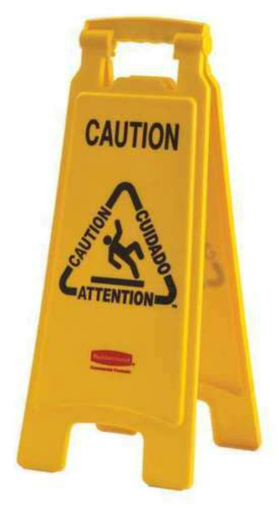 Floor Stand Sign,Caution,24-1/2inHx12inW 104810