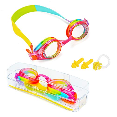 ProChosen Kids Swim Goggles, Waterproof Anti Fog UVA/UVB Protection No Leaking Clear Wide Vision Soft Silicone Gasket Swimming Glasses with Case, Nose Clip, Earplugs for Boys Girls Youth Kids