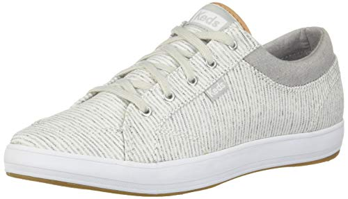 Keds Women's Center Stripe Sneaker, Grey, - Grey Canvas Stripe
